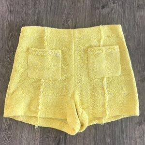 Zara Yellow Tweed Shorts M